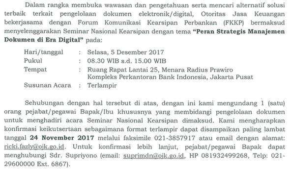 undangan seminar kearsipan 5 desember 2017 fKKP